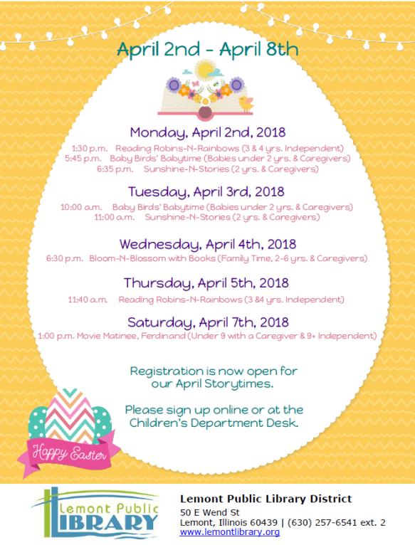 Week 1 April Weekly Events Flyer