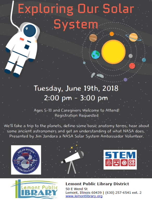 Exploring Our Solar System June Summer 2018