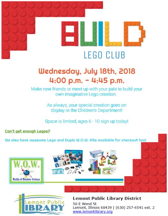 July Lego Club Summer 2018