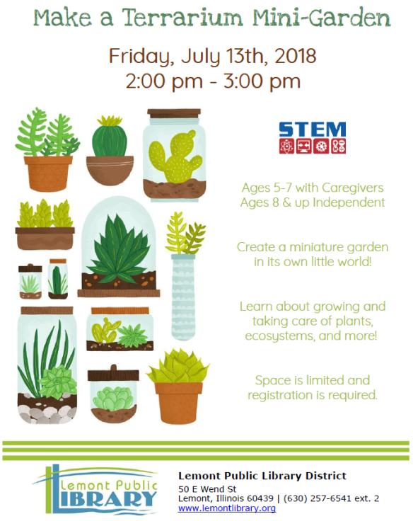 Make a Terrarium Mini Garden July Summer 2018