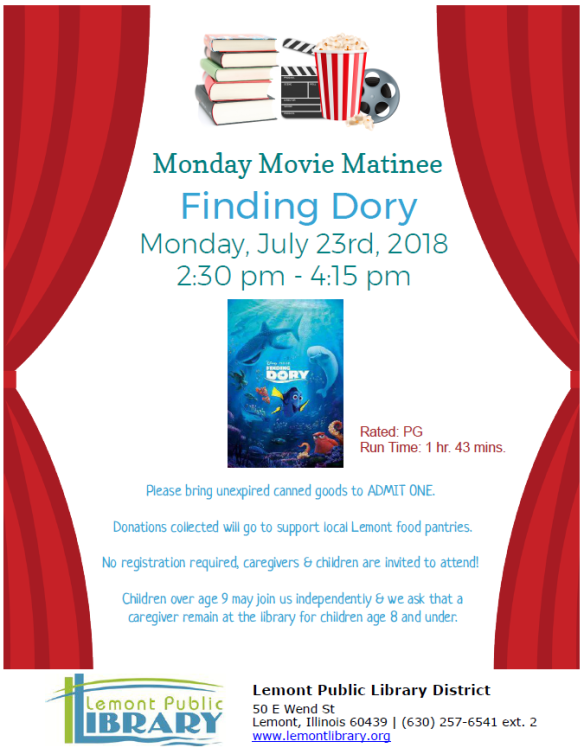 Movie Matinee Finding Dory Summer 2018
