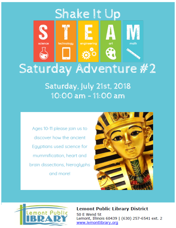 Shake it up STEAM Saturday July 2018