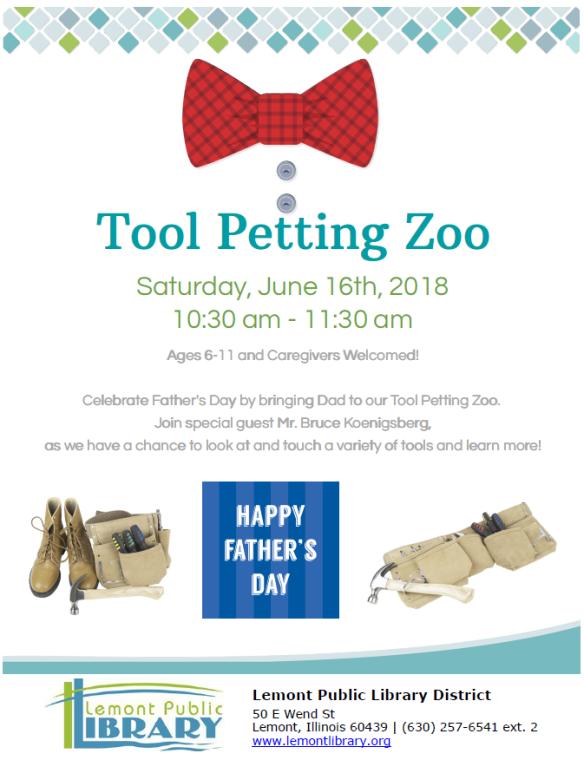 Tool Petting Zoo June Summer 2018