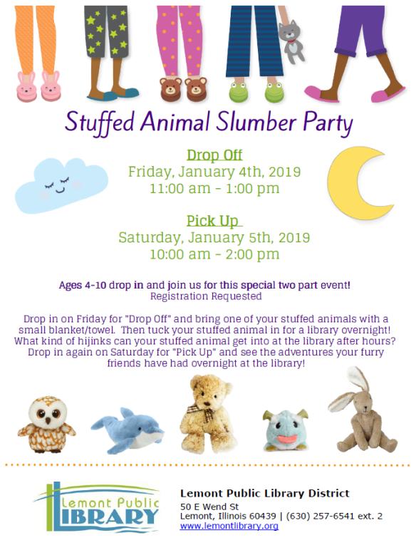 1_4_18 Stuffed Animal Slumber Party