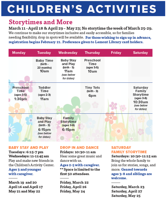 spring story times 2019