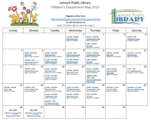 May 2019 Kids Calendar