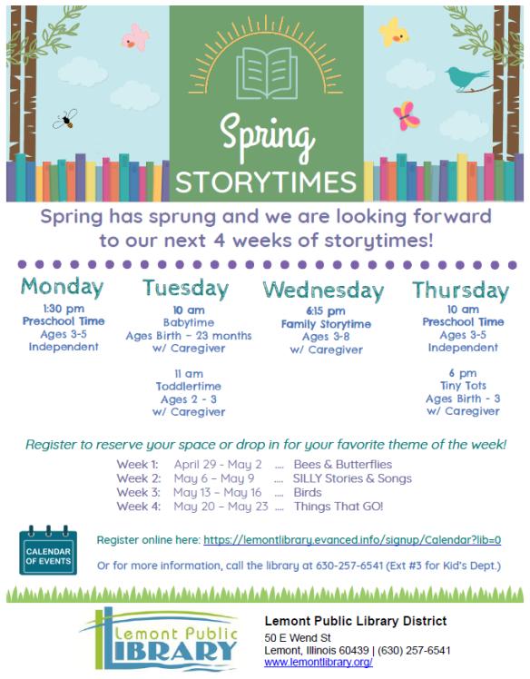 Spring 2019 Storytimes
