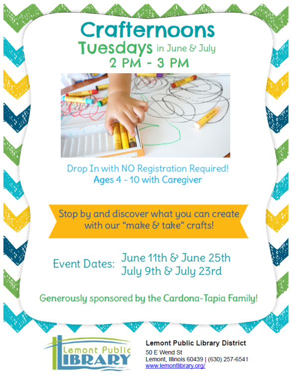Crafternoons Tuesdays June & July