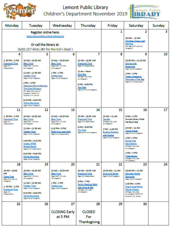 November 2019 Kids Calendar