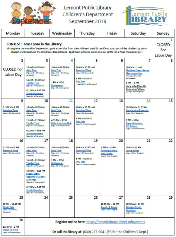 September 2019 Kids Calendar