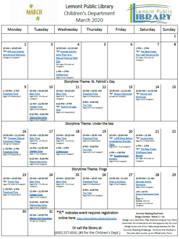 March 2020 Childrens Calendar